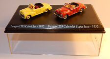 COFFRET ATLAS UH HO 1/87 DUO 2 METAL PEUGEOT 203 CABRIOLET 1952 SUPER LUXE 1955