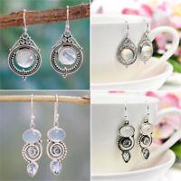 Jewelry Silver Plated Earrings Women Sea Blue Vintage Topaz Dangle Drop Hook