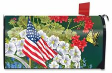 American Garden Summer Magnetic Mailbox Cover Patriotic Floral Standard