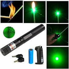 Military 303 532nm Green Laser Pointer Pen Burning Beam Light + Battery +Charger