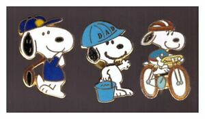 Snoopy pins: golfer; Dad construction worker; cyclist