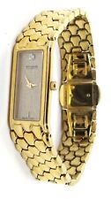 Wittnauer Diamond Gold Plated Rectangle Dial Watch for Women 6 1/2 Inches Swiss