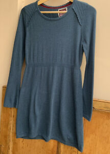 Pretty Teal Round Neck long sleeved Tunic/jumper By Mantaray size 12uk