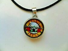 New GUNS N ROSES Snap Button Glass Dome Necklace