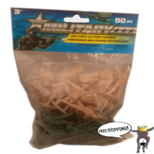 """New 50 PCS  2"""" Green, Tan Army Men Toy Soldiers Military Plastic Action Figures"""