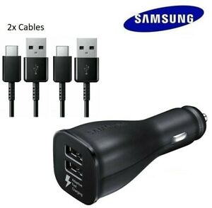 Original Samsung Galaxy S10+ S20 Note10 Adaptive Fast Car Charger+2 Type C Cable