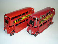 "2x Meccano Dinky Toys Double Decker Bus ""EXIDE"" 290 Rouge - 1x Original Omnibus"