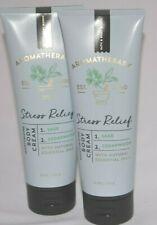 2 Bath & Body Works Aromatherapy Stress Relief Body Cream Sage Cedarwood 8 Oz