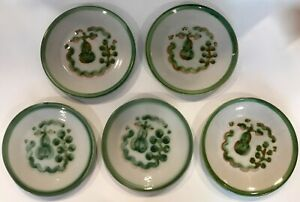 """Set of 5 M.A.Hadley Pottery Green Pear & Grapes 7 1/4"""" Salad Side Plates VG COND"""