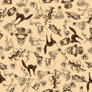 Vintage Bats Skulls Owl Spider Cat Steampunk Print Sewing Fabric Halloween