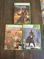 Xbox 360 Video Game Lot Of 3 Mass Effect 2 Destiny Gears Of War 2