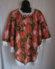 St Michael VTG 60's Terry Cloth Fringed Floral Hippie Boho Poncho One Size UK