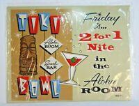 "Tin Sign Tiki Bowl Island Bar Fun Hawaiian Wall Decor 14"" x 11"" NEW Sealed"
