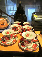 "Set of 6 ROYAL ALBERT ""South Pacific"" Cups & Saucers - Orange Poinsettias"