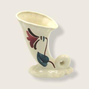 Purinton Pottery Slip Ware Cornucopia Flower Vase Hand Painted Vintage