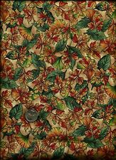 Nice Pretty Ginko & Various Leaf Print multi on tan Fabric by Jo-Ann Stores