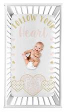 Sweet Jojo Pink Gold Damask Heart Baby Girl Nursery Photo Op Fitted Crib Sheet