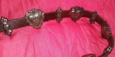 Vintage Handmade Brown Leather & Silvertoned Pewter? Hearts Belt