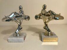 🏎️2 x GOLD/SILVER KARTING TROPHIES Trophy Munich Germany Schumacher Quartz Base