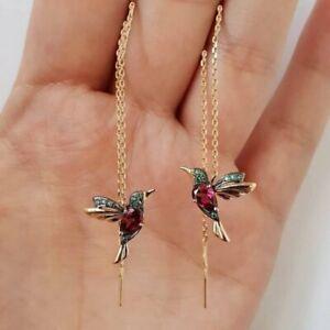 Crystal Long Drop Tassel Hummingbird Earrings Stud Threader Dangle Women Gift
