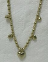 Vintage Gold Tone Bead and Hearts Necklace