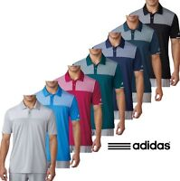 Adidas Golf Mens Climachill Heather Block Competition Polo Shirt Stretch