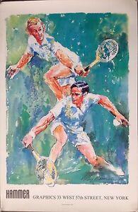 "1980, LeRoy Neiman, Australian Tennis Greats Poster, Laver & Rosewall, 35x23"""