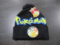 NEW Pokemon Beanie Hat Cap Black Yellow Knit Skull Winter Pikachu Charmander
