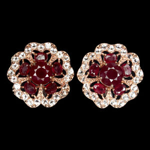 Round Red Ruby 7mm White Topaz 14K Rose Gold Plate 925 Sterling Silver Earrings