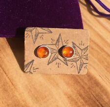 AMBER & STERLING SILVER 6MM STUD EARRINGS - GEMSTONE CRYSTAL HEALING