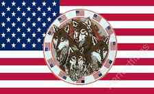 USA 4 WOLVES FOUR WOLF FLAG - 5x3 Feet - UNITED STATES ANIMAL BANNER