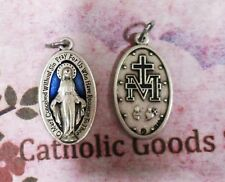 Large Miraculous Medal - 1 1/4 inch Oxidized Italian Silver Cast + Blue Medal