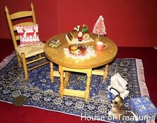 DOLLHOUSE FURNITURE**GATE LEG TABLE +CHAIR +RUG**CHRISTMAS FOOD +GIFT +TREE+DOG.