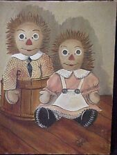 """Vtg Raggedy Ann Andy Oil On Canvas Signed Painting Judy Campbell 14"""" X 18"""""""