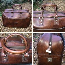🌈Large True Vintage Sports Bag 70's/80's Brown Faux Leather Vinyl Holdall