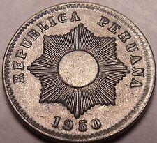 Escaso Raro UNC Perú 1950 Centavo ~ Radiante Sol ~ Primeros Año Ever ~ Zinc ~