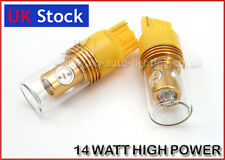 2x 14W CREE HIGH POWER LED W21W 7440 T20 REAR INDICATOR BULBS YELLOW fit TOYOTA