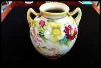 Nippon Gold Gilded Handled Vase Hand Painted Floral Moriage Vase