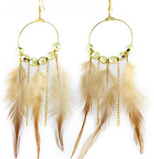 F1506 real natural Feather circle chain bead dangle chandelier earrings jewelry