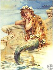 Victorian LITTLE MERMAID New CANVAS Art Print ~ LARGE