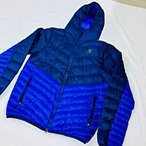 Super Rare Nike Down Filled Puffer Jacket Nylon Glanz Navy Blue Royal Blue Large
