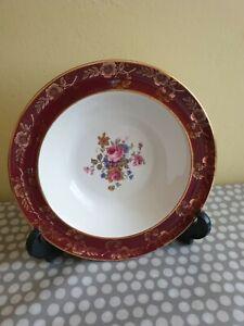 Cream /& Burgundy Vintage Germany Fluted Bowl 544