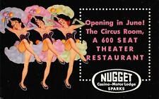 Nugget Casino Sparks, Nevada Circus Room Ad Dancing Showgirls Postcard ca 1950s
