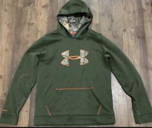 Under Armour Boys Storm1 Pull Over Logo Hoodie Size YXL Green Orange Camo