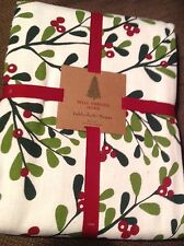 """CHRISTMAS Tablecloth 60 x 102"""" Red Green Off White Cotton New SEATS 8 TO 10"""