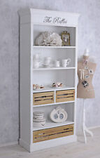 Bookcase Shabby Shelf White Standing Antique Wardrobe Wooden Cabinet