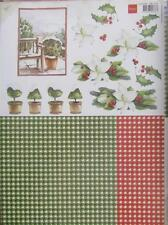 A4 3D Paper Tole with Printed 1/2 Sheet Christmas Poinsettia 6 Pictures