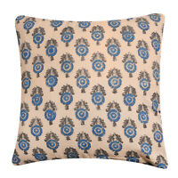 16X16 Cushion Cover Hand Block Print Indian Cotton Throw Pillow Case Decorative