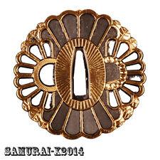 Golden Wheel Alloy Tsuba Hand Guard For Japanese Samurai Sword Katana Wakizashi