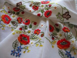 Vintage Hand Embroidered Tablecloth-BEAUTIFUL FLORAL NEEDLE WORK
